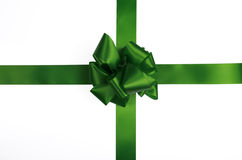 Green satin ribbon and bow Royalty Free Stock Image