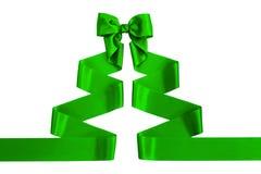 Green satin ribbon with bow Royalty Free Stock Image
