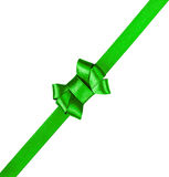 Green satin ribbon tied in a bow isolated on white Royalty Free Stock Images