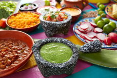 Green sauce with tomato and chili pepper Royalty Free Stock Photos