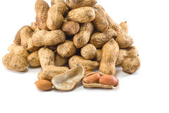 Peanuts in a Sack in White Background with Selective Focus. 