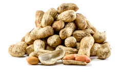 Peanuts in a Sack in White Background with Selective Focus Royalty Free Stock Image