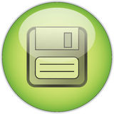 Green Save button. Illustration of floppy disk on green circular save button, isolated on white background Stock Image