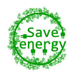 Green save energy. Save energy with branch - vector illustration Royalty Free Stock Image