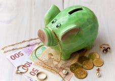 Green saving pig Royalty Free Stock Photography