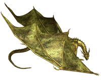 Green Scaled Dragon Crawling. Crawling dragon with green metallic scales, 3d digitally rendered illustration Stock Photo