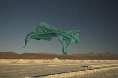 Green scarf flying Stock Photos