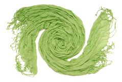 Green scarf with fringe. Royalty Free Stock Photo