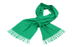 Green scarf with fringe for winter. Royalty Free Stock Photography