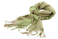 Green scarf with tassels on white background. Stock Photography
