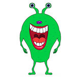 Green scaring cartoon monster Royalty Free Stock Image