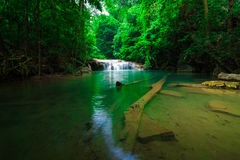 Green scene at Erawan Waterfall, Erawan National Park Stock Photo