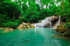 Green scene at Erawan Waterfall, Erawan National Park Royalty Free Stock Image
