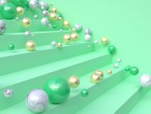 Green staircase ball 3d rendering vector illustration