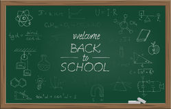 Green school blackboard with chalk WELCOME BACK TO SCHOOL text and different school symbols. Vector illustration. Royalty Free Stock Image