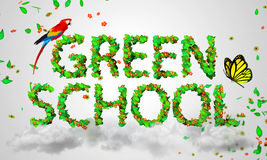 Green School leaves particles 3D. Digital art Stock Images