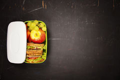 Green school lunch box with sandwich, apple, grape and carrot royalty free stock photos