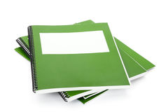 Green school textbook. Notebook or manual with white background Stock Photography