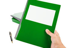 Green school textbook. Notebook or manual with white background Royalty Free Stock Photography
