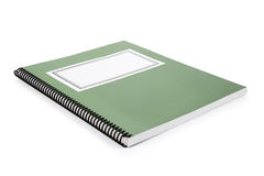Green school textbook. Notebook or manual with white background Royalty Free Stock Photo