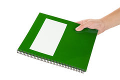 Green school textbook. Notebook or manual with white background Stock Photos