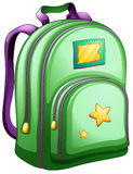 A green schoolbag. Illustration of a green schoolbag on a white background Stock Image