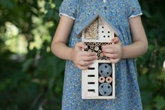 Girl holding insect hotel stock photos