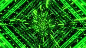 Green sci fi tunnel, abstract futuristic technology concept. Animation. 3D journey through cyberspace on black
