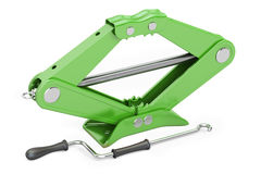 Green scissor jack, car lifter. 3D rendering Royalty Free Stock Images