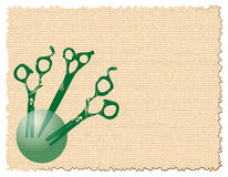 Green scissors. Abstract illustration with brown background and green scissors Royalty Free Stock Images