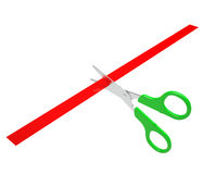 Green scissors cut the red ribbon Stock Photos