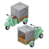 Green scooter with gray tent. Vector transport Stock Photo