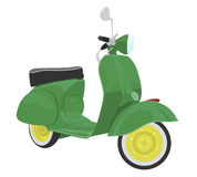 Green scooter with yellow wheels Stock Image
