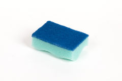Green scouring sponge. On the isolated white background Stock Image