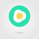 Green scrambled eggs icon with shadow Royalty Free Stock Image