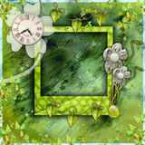 Green scrapbook photo album Stock Photos