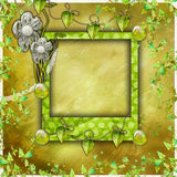 Green scrapbook photo album Royalty Free Stock Image