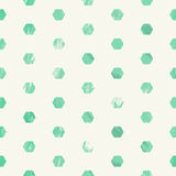 Green scratched grunge style seamless pattern with hexagons Stock Images