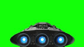 Green screen in the backdrop. Spacecraft flies out of the sci-fi tunnel, 3d animation. Spacecraft flies out of the tunnel on green stock footage