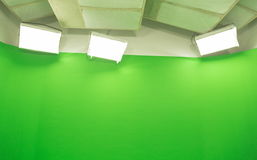 Green screen chroma key background modern tv studio setup Royalty Free Stock Photos
