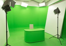 Green screen chroma key background modern tv studio setup. Modern TV Studio Green Screen chroma key background with camera and Light Equipment Royalty Free Stock Photography