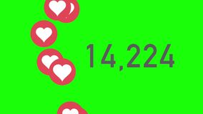Green Screen Closeup Counter of Likes Being Accumulated with Hearts. A close up shot of 100,000 likes being counted with thumping hearts on a social network page stock video footage