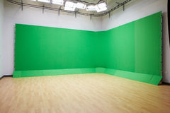 Green Screen In Empty TV Studio royalty free stock photos