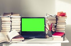 Green Screen Laptop Stack Of Books Notebooks And Pencils On White