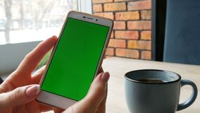 Green screen smartphone. Chroma Key on a white smartphone, female hands hold mobile phone in a cafe next to a cup of. Green screen smartphone. Chroma Key on a stock footage