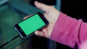 Green screen smartphone phone hand stock video