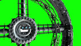 Green screen. Spaceship flies into the door of giant space torus and flickers with engines lights, 3d animation.