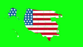 Green screen transition with USA map contours. transition in projects related to the USA geography, travel, tourism or politics. Green screen transition with stock footage