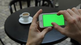 Green Screen in White Phone Infographics Zoom Page.  stock video footage