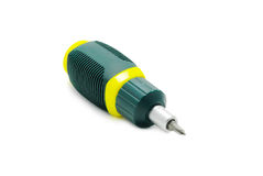 Green screwdriver isolated over white Stock Photos